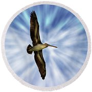 Soaring With Ease At Puerto Lopez Round Beach Towel