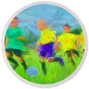 Soccer 3 Round Beach Towel by Caito Junqueira