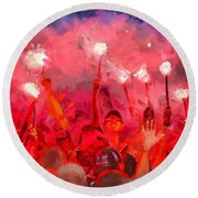Soccer Fans Pictures Round Beach Towel