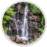 Round Beach Towel featuring the photograph Socco Falls by Stephen Stookey