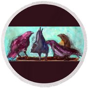 Socializing Round Beach Towel by Ron Stephens
