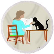 Socks Reads Sunday Paper Round Beach Towel by Fred Jinkins