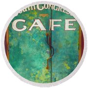 Soco Cafe Doors Round Beach Towel