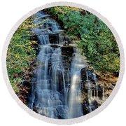 Soco Falls In Fall Round Beach Towel