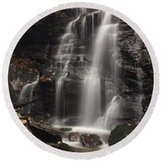 Soco Falls-portrait Version Round Beach Towel