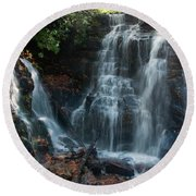 Round Beach Towel featuring the photograph Soco Waterfalls  by Chris Flees