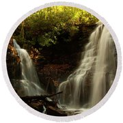 Round Beach Towel featuring the photograph Soco Waterfalls From Spillway by Chris Flees