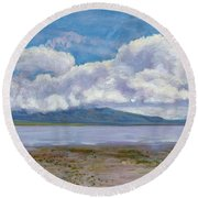 Soda Lake After The Storm Round Beach Towel