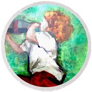 Soda Pop Child Round Beach Towel