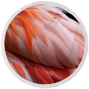 Soft And Delicate Flamingo Feathers Round Beach Towel