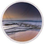 Soft And Rocky Sunrise Seascape Round Beach Towel