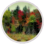 Round Beach Towel featuring the photograph Soft Autumn Panorama by David Patterson