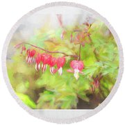 Soft Bleeding Hearts Round Beach Towel