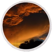 Soft Clouds And Contrast Round Beach Towel