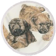 Soft-coated Wheaten Terrier Puppies Round Beach Towel