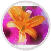 Soft Day Lily Round Beach Towel