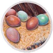 Soft Eggs Round Beach Towel