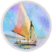Soft Evening Sail Round Beach Towel