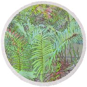 Soft Ferns Round Beach Towel