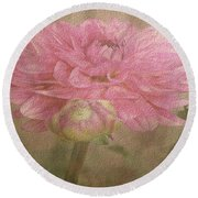 Soft Graceful Pink Painted Dahlia Round Beach Towel by Judy Palkimas