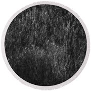 Soft Grass Black And White Round Beach Towel