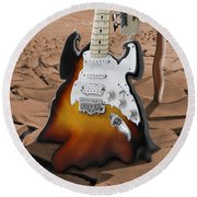 Soft Guitar 4 Round Beach Towel by Mike McGlothlen