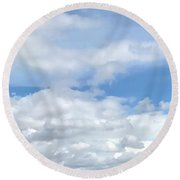 Soft Heavenly Clouds Round Beach Towel
