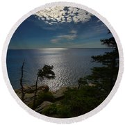 Soft Light On Otter Point Round Beach Towel