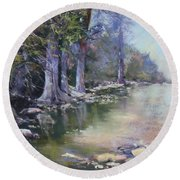 Soft Light On The Pedernales Round Beach Towel
