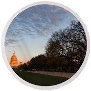 Soft Orange Glow - U S Capitol And The National Mall At Sunset Round Beach Towel