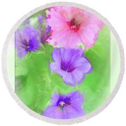 Soft Petunias Round Beach Towel