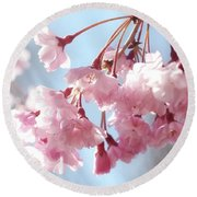 Round Beach Towel featuring the photograph Soft Pink Blossoms by Trina Ansel