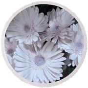 Soft Pink Daisy Bouquet Round Beach Towel by Jeannie Rhode