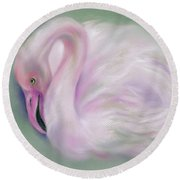 Soft Pink Flamingo Round Beach Towel