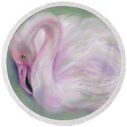 Soft Pink Flamingo Round Beach Towel
