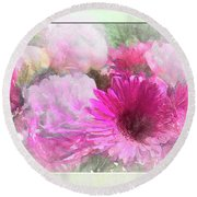 Soft Pink Gerbera Round Beach Towel