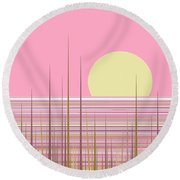 Soft Pink Sky Round Beach Towel by Val Arie