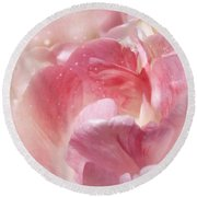 Soft Pink Tulips Round Beach Towel