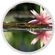 Soft Pink Water Lily Round Beach Towel