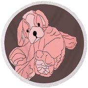 Round Beach Towel featuring the digital art Soft Puppy Pink by Jayvon Thomas