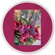 Round Beach Towel featuring the photograph Soft Reds Of Spring - Tulips by Miriam Danar