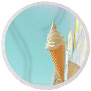 Round Beach Towel featuring the photograph Soft Serve by Cindy Garber Iverson