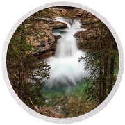Round Beach Towel featuring the photograph Soft Smooth Waterfall by Darcy Michaelchuk