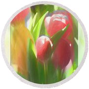 Soft Tulips Round Beach Towel