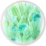 Soft Watercolor Floral Round Beach Towel by Judy Palkimas