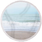 Round Beach Towel featuring the mixed media Soft Waves 2- Art By Linda Woods by Linda Woods