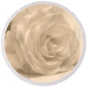 Round Beach Towel featuring the photograph Soft White Rose by Scott Carruthers