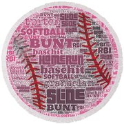 Softball  Round Beach Towel