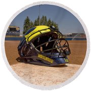 Softball Catcher Helmet Round Beach Towel