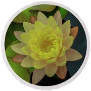 Softly Pink And Yellow Lilly Round Beach Towel